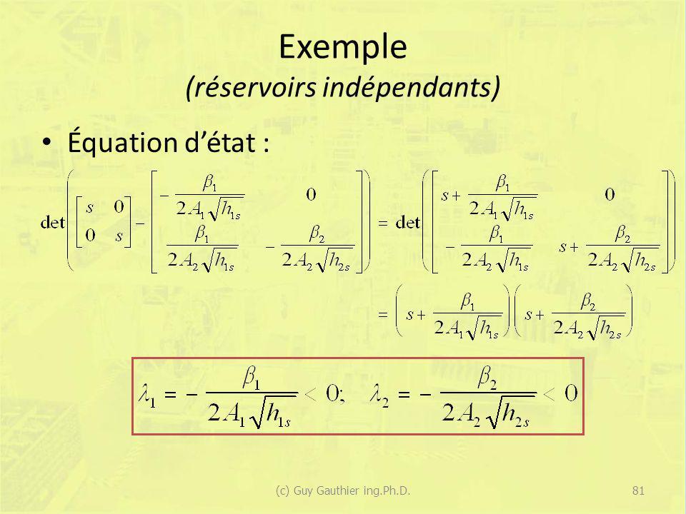 Exemple (réservoirs indépendants) Équation détat : 81(c) Guy Gauthier ing.Ph.D.