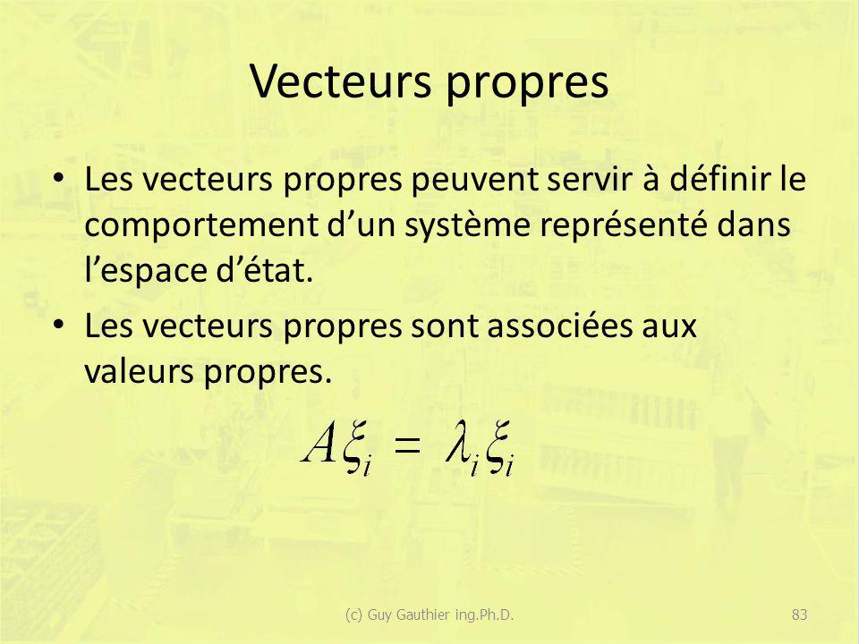 Vecteurs propres Les vecteurs propres peuvent servir à définir le comportement dun système représenté dans lespace détat. Les vecteurs propres sont as