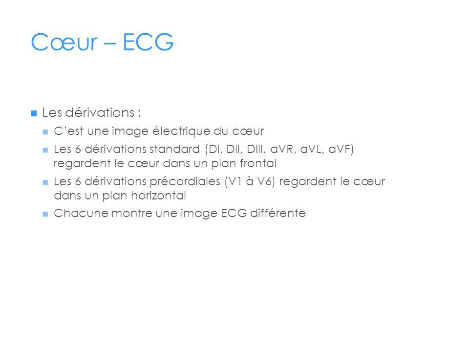 Cœur – ECG Les dérivations : Cest une image électrique du cœur Les 6 dérivations standard (DI, DII, DIII, aVR, aVL, aVF) regardent le cœur dans un plan frontal Les 6 dérivations précordiales (V1 à V6) regardent le cœur dans un plan horizontal Chacune montre une image ECG différente