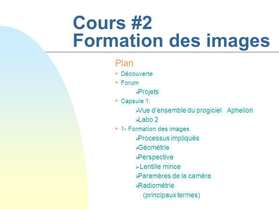 Cours #2 Formation des images Plan Découverte Forum Projets Capsule 1: Vue densemble du progiciel Aphelion Labo 2 1- Formation des images Processus im