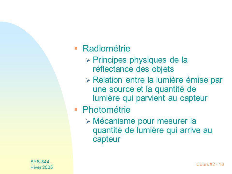 SYS-844 Hiver 2005 Cours #2 - 16 Radiométrie Principes physiques de la réflectance des objets Relation entre la lumière émise par une source et la qua