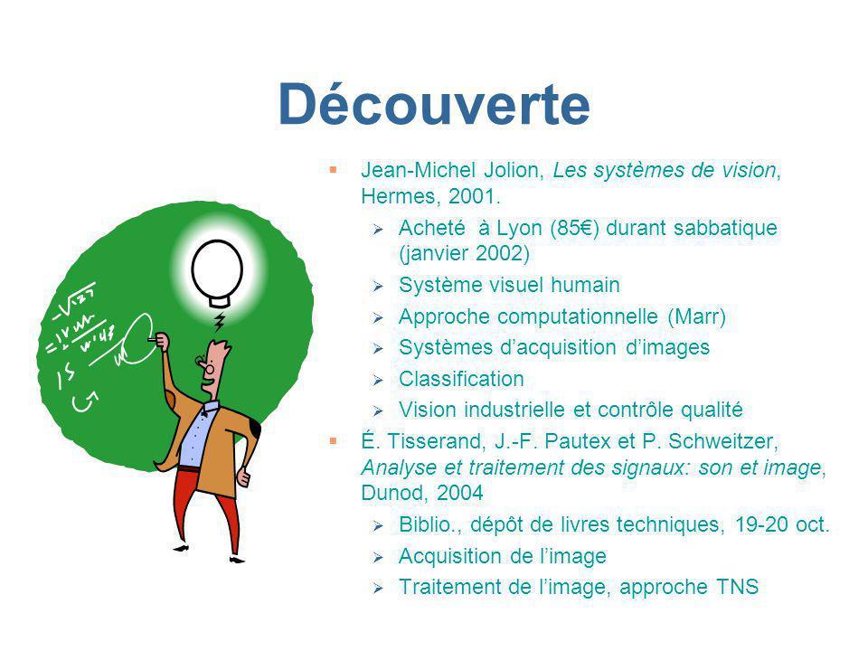 Découverte Jean-Michel Jolion, Les systèmes de vision, Hermes, 2001. Acheté à Lyon (85) durant sabbatique (janvier 2002) Système visuel humain Approch