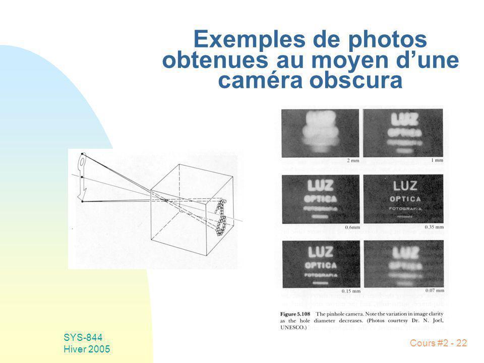 SYS-844 Hiver 2005 Cours #2 - 22 Exemples de photos obtenues au moyen dune caméra obscura