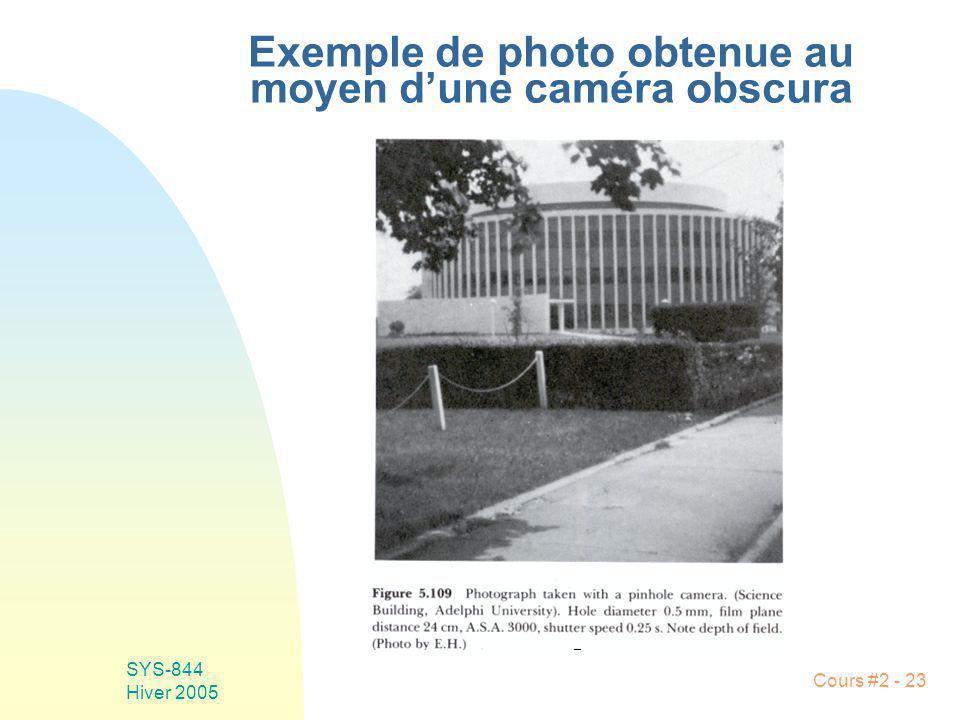 SYS-844 Hiver 2005 Cours #2 - 23 Exemple de photo obtenue au moyen dune caméra obscura