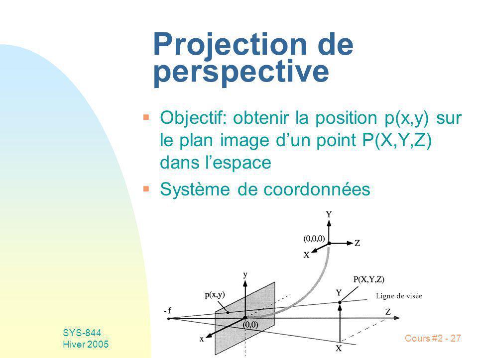 SYS-844 Hiver 2005 Cours #2 - 27 Projection de perspective Objectif: obtenir la position p(x,y) sur le plan image dun point P(X,Y,Z) dans lespace Syst