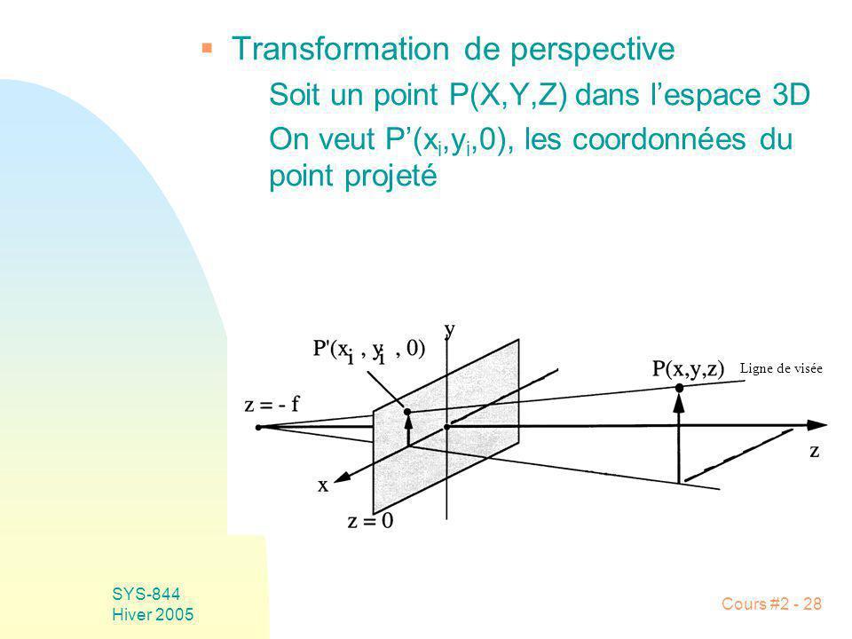 SYS-844 Hiver 2005 Cours #2 - 28 Transformation de perspective Soit un point P(X,Y,Z) dans lespace 3D On veut P(x i,y i,0), les coordonnées du point p