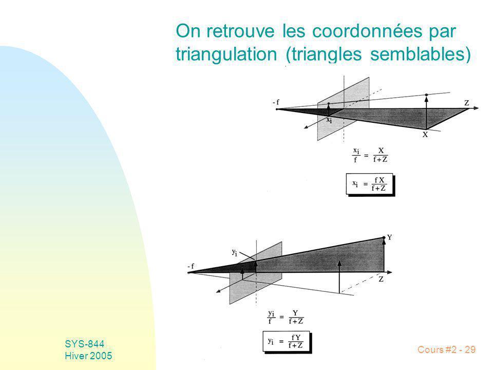 SYS-844 Hiver 2005 Cours #2 - 29 On retrouve les coordonnées par triangulation (triangles semblables)