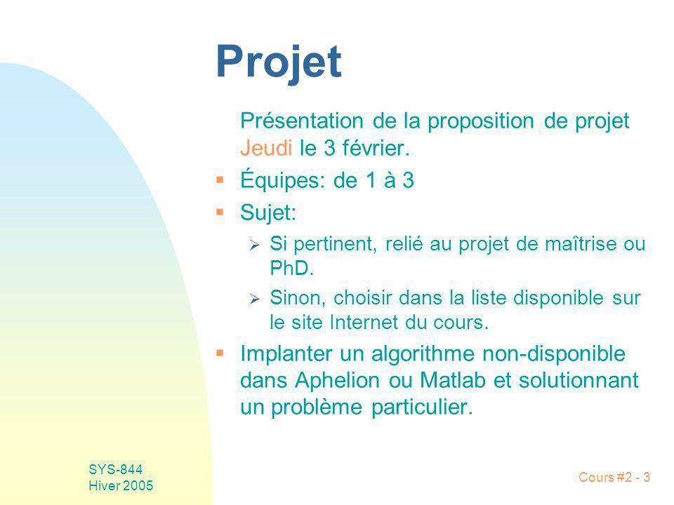 SYS-844 Hiver 2005 Cours #2 - 3 Projet Présentation de la proposition de projet Jeudi le 3 février. Équipes: de 1 à 3 Sujet: Si pertinent, relié au pr