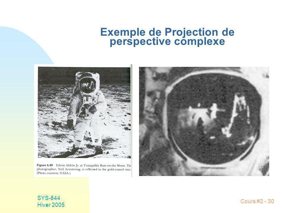 SYS-844 Hiver 2005 Cours #2 - 30 Exemple de Projection de perspective complexe