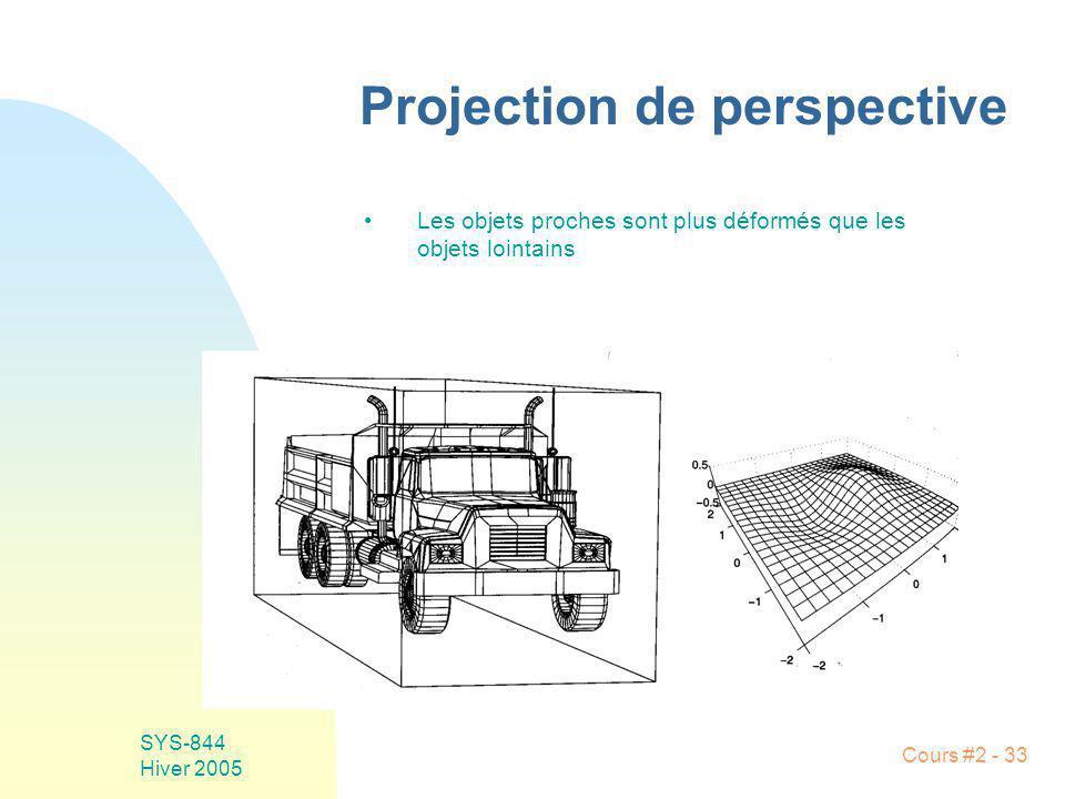 SYS-844 Hiver 2005 Cours #2 - 33 Projection de perspective Les objets proches sont plus déformés que les objets lointains