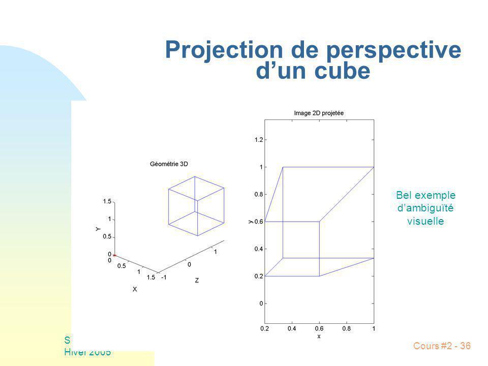 SYS-844 Hiver 2005 Cours #2 - 36 Projection de perspective dun cube Bel exemple dambiguïté visuelle