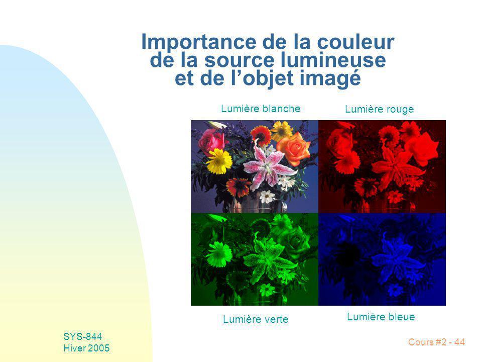 SYS-844 Hiver 2005 Cours #2 - 44 Importance de la couleur de la source lumineuse et de lobjet imagé Lumière blanche Lumière rouge Lumière verte Lumièr