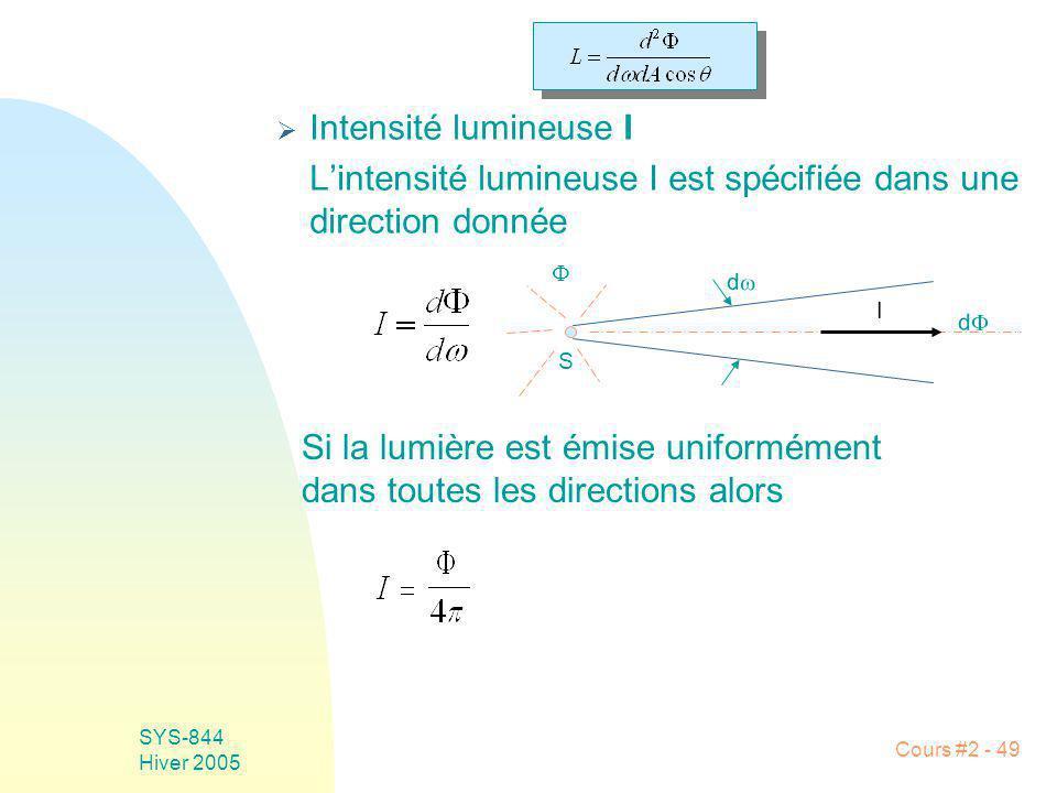 SYS-844 Hiver 2005 Cours #2 - 49 Intensité lumineuse I Lintensité lumineuse I est spécifiée dans une direction donnée d S d I Si la lumière est émise