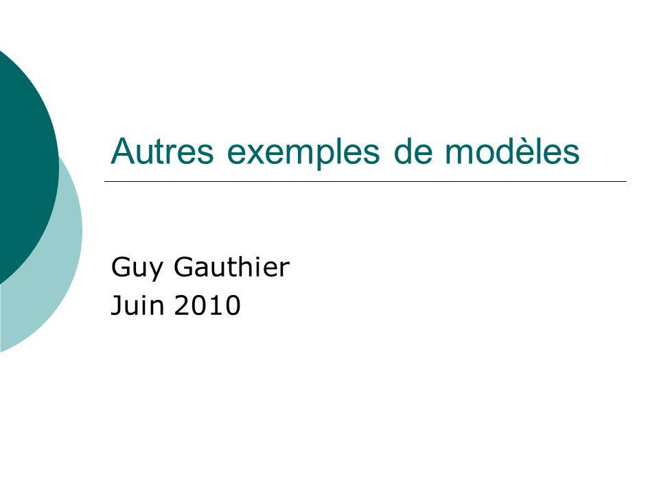 Autres exemples de modèles Guy Gauthier Juin 2010