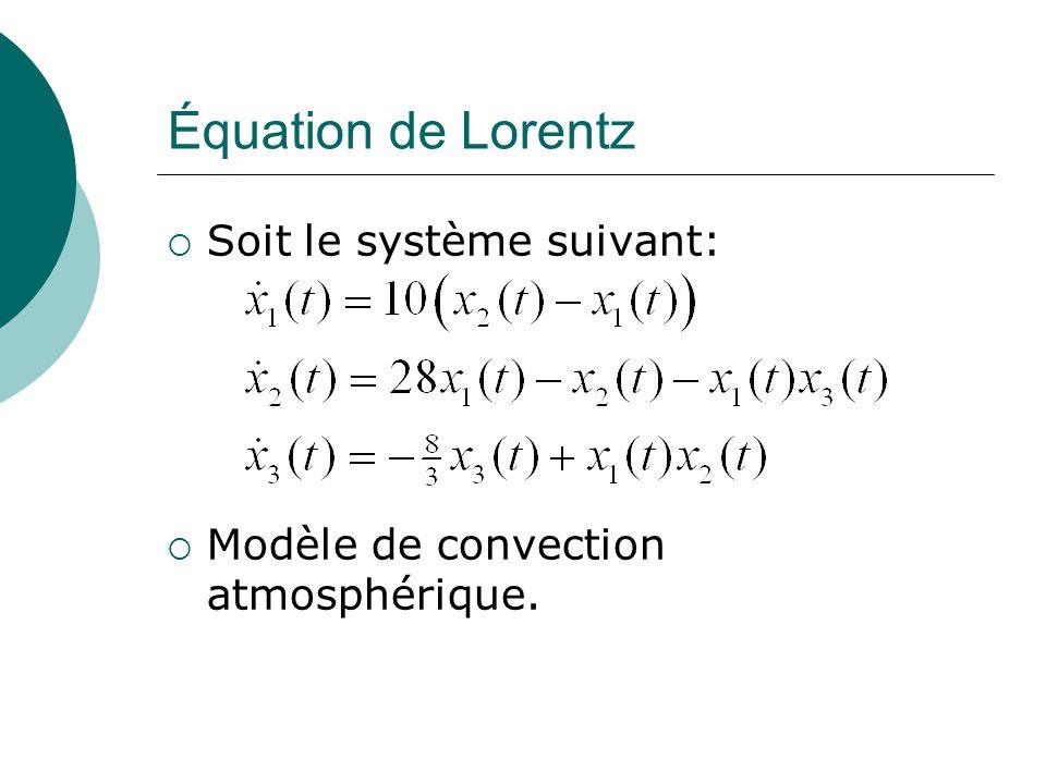 Équation de Lorentz Soit le système suivant: Modèle de convection atmosphérique.