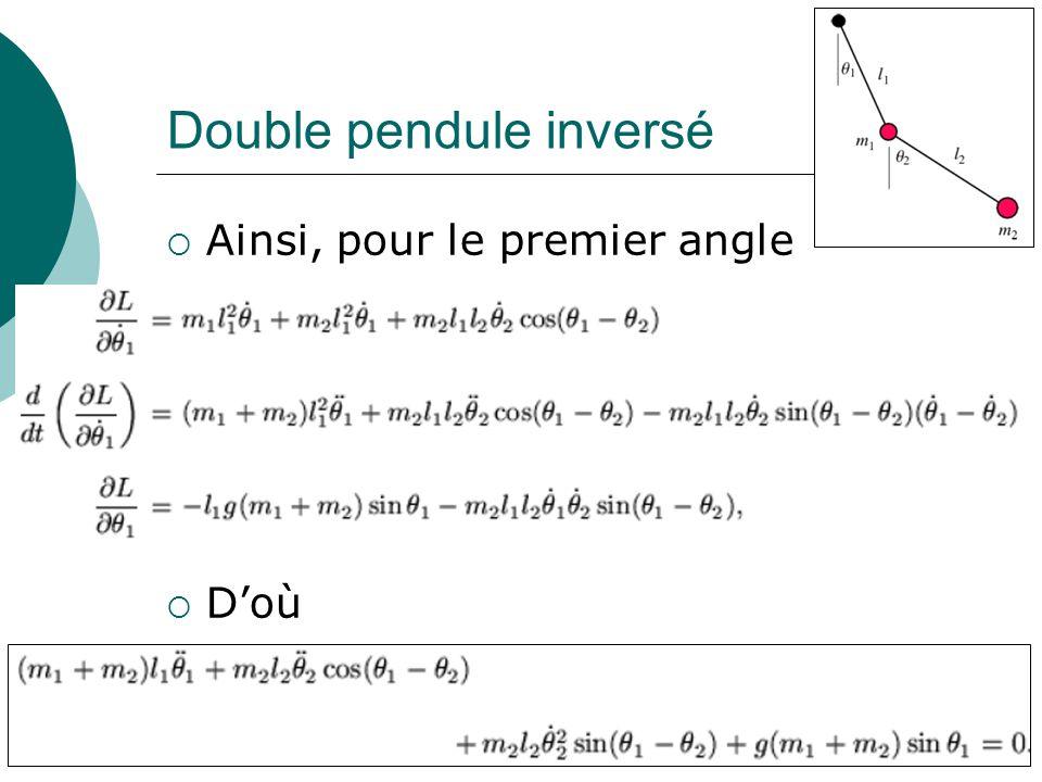 Double pendule inversé Ainsi, pour le premier angle Doù