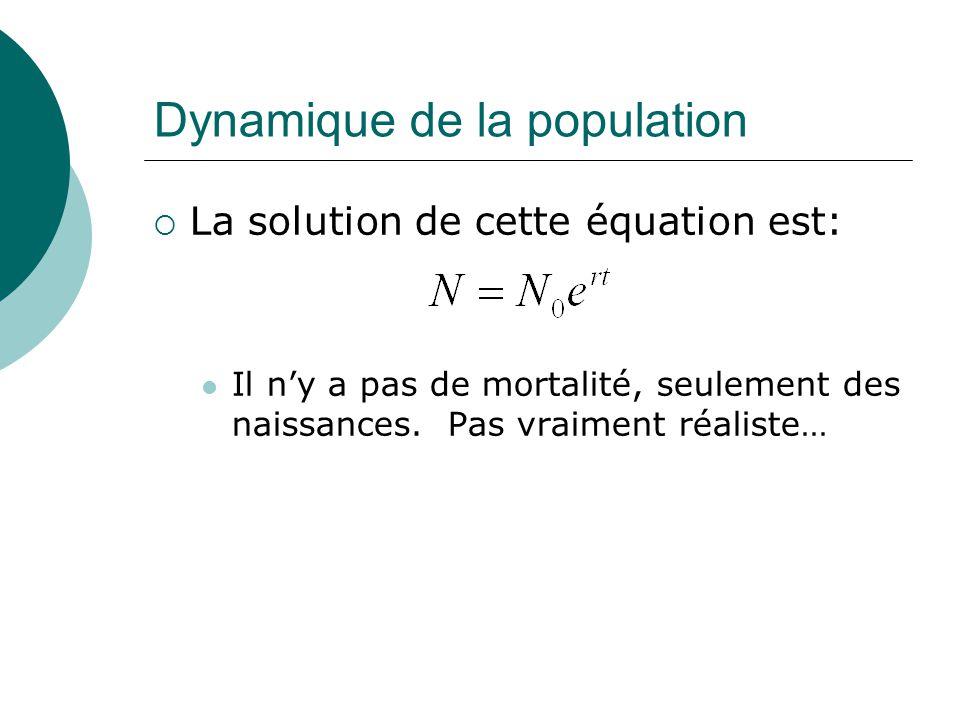 Dynamique de la population La solution de cette équation est: Il ny a pas de mortalité, seulement des naissances. Pas vraiment réaliste…
