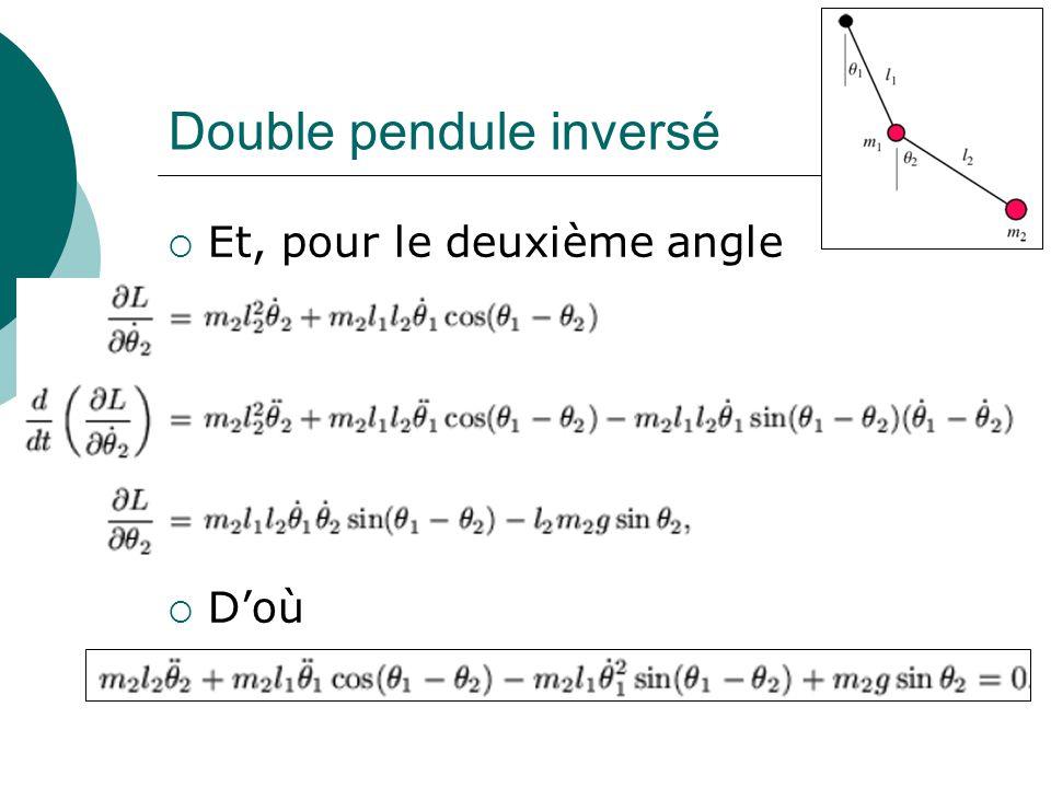 Double pendule inversé Et, pour le deuxième angle Doù