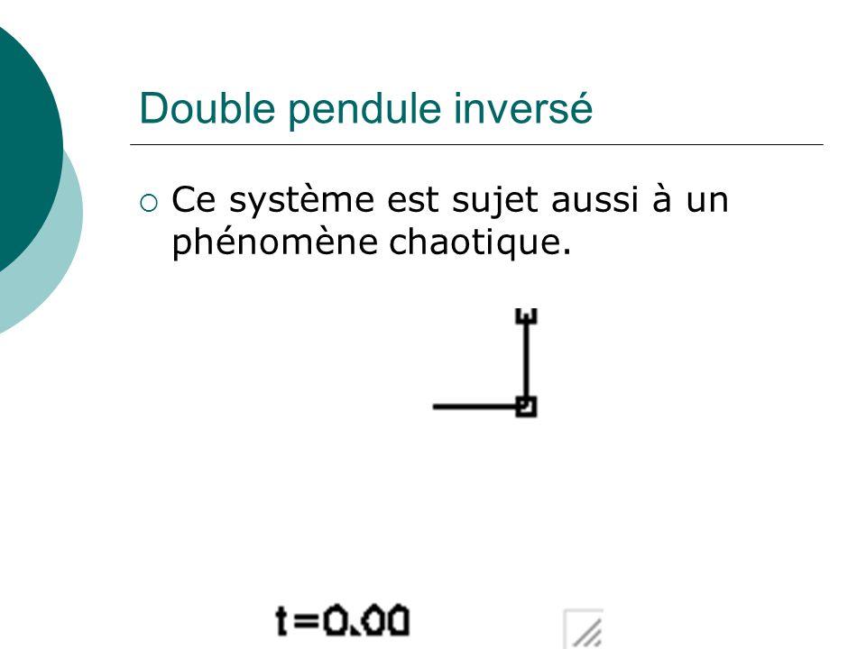 Double pendule inversé Ce système est sujet aussi à un phénomène chaotique.