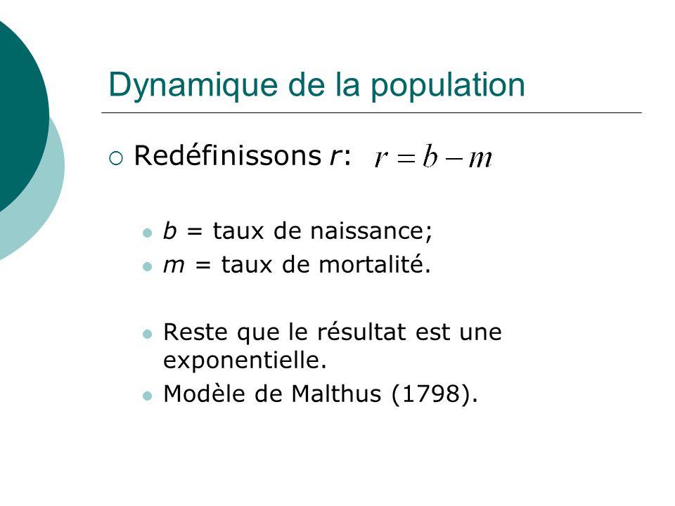 Dynamique de la population Redéfinissons r: b = taux de naissance; m = taux de mortalité. Reste que le résultat est une exponentielle. Modèle de Malth