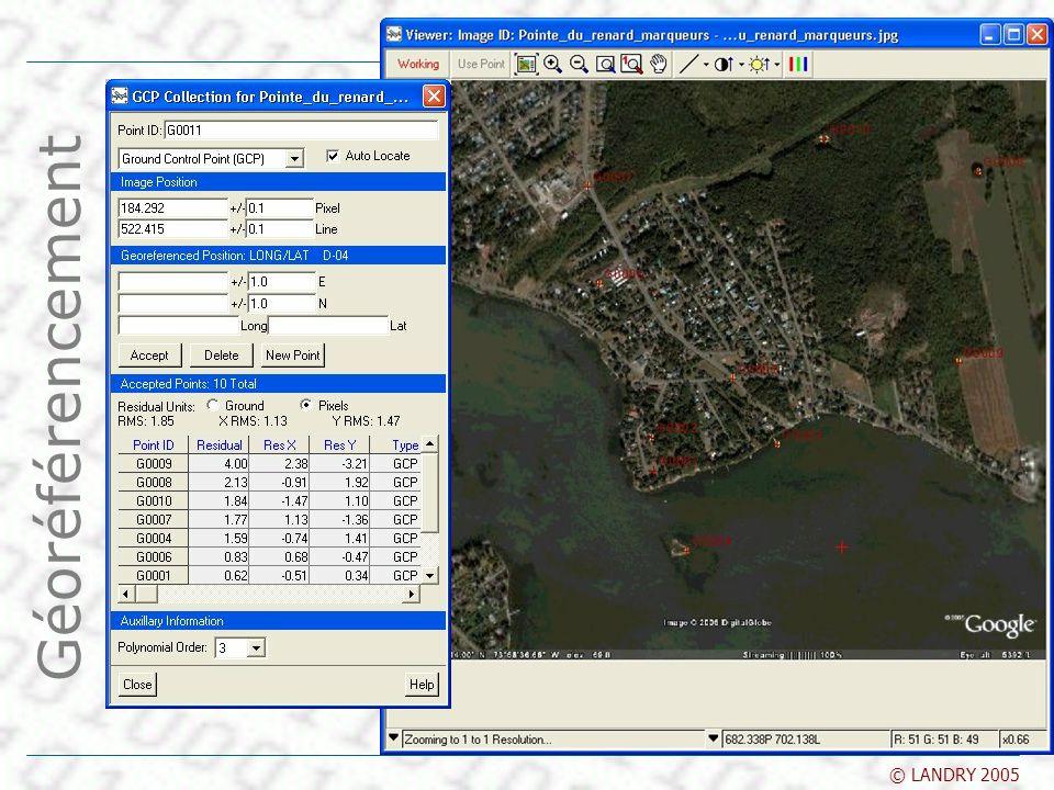 SYS-866 SIG et télédétection © LANDRY 2005 Géoréférencement Dans OrthoEngine Géoréférencement