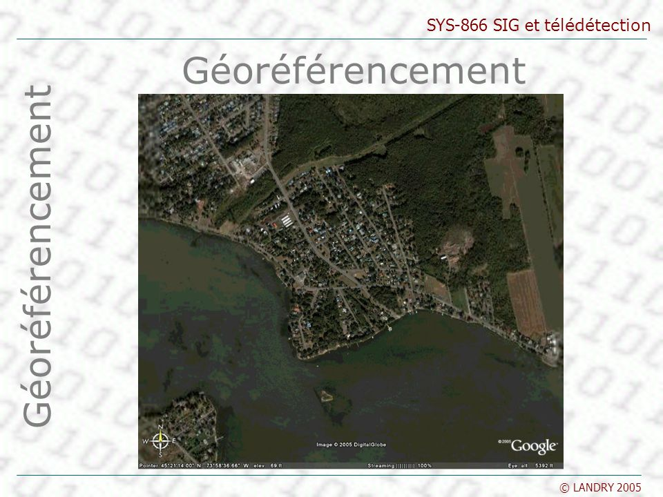 SYS-866 SIG et télédétection © LANDRY 2005 Géoréférencement Vérification