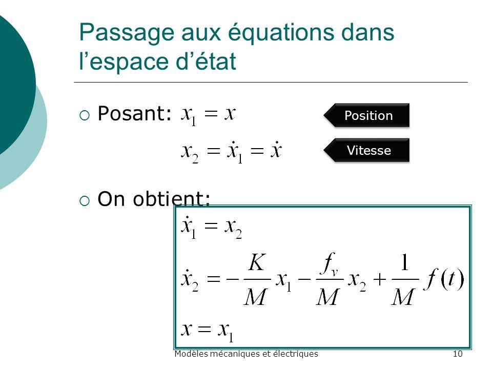 Passage aux équations dans lespace détat Posant: On obtient: 10Modèles mécaniques et électriques Position Vitesse