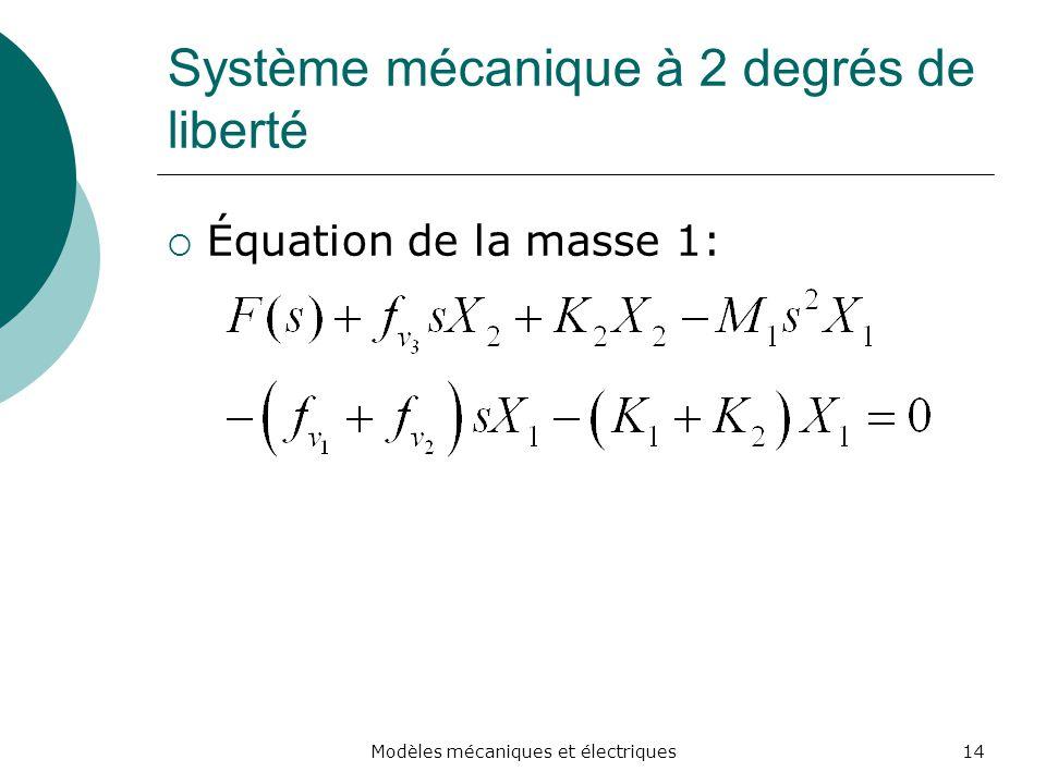 Système mécanique à 2 degrés de liberté Équation de la masse 1: 14Modèles mécaniques et électriques