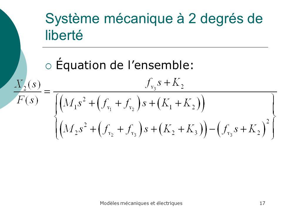 Système mécanique à 2 degrés de liberté Équation de lensemble: 17Modèles mécaniques et électriques