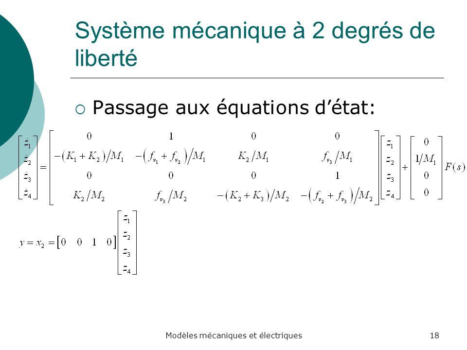 Système mécanique à 2 degrés de liberté Passage aux équations détat: 18Modèles mécaniques et électriques