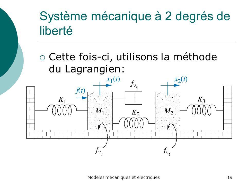 Système mécanique à 2 degrés de liberté Cette fois-ci, utilisons la méthode du Lagrangien: 19Modèles mécaniques et électriques