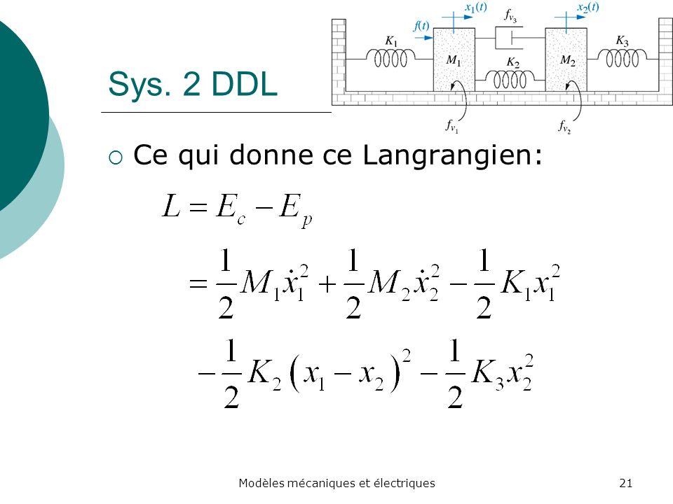 Sys. 2 DDL Ce qui donne ce Langrangien: 21Modèles mécaniques et électriques