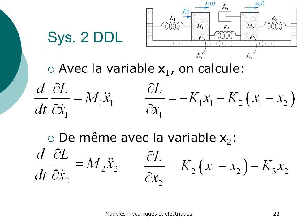 Sys. 2 DDL Avec la variable x 1, on calcule: De même avec la variable x 2 : 22Modèles mécaniques et électriques