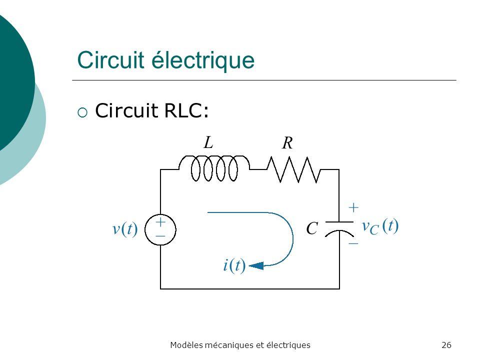 Circuit électrique Circuit RLC: 26Modèles mécaniques et électriques