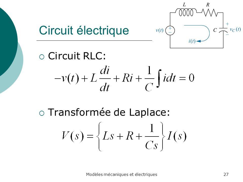 Circuit électrique Circuit RLC: Transformée de Laplace: 27Modèles mécaniques et électriques
