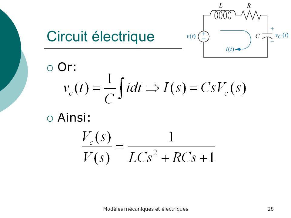 Circuit électrique Or: Ainsi: 28Modèles mécaniques et électriques