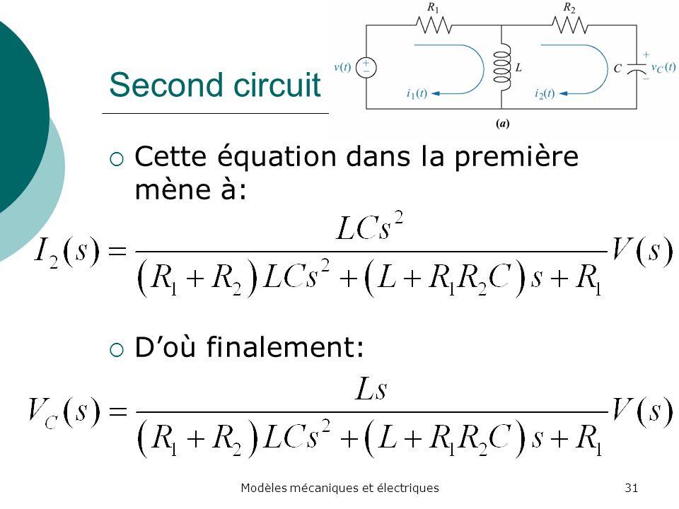 Second circuit Cette équation dans la première mène à: Doù finalement: 31Modèles mécaniques et électriques