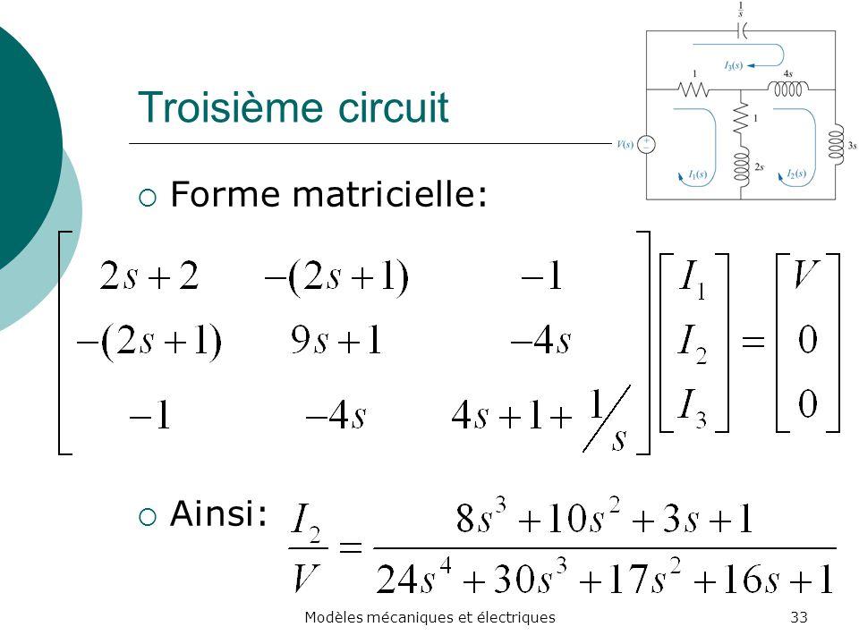 Troisième circuit Forme matricielle: Ainsi: 33Modèles mécaniques et électriques