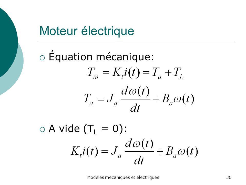 Moteur électrique Équation mécanique: A vide (T L = 0): 36Modèles mécaniques et électriques