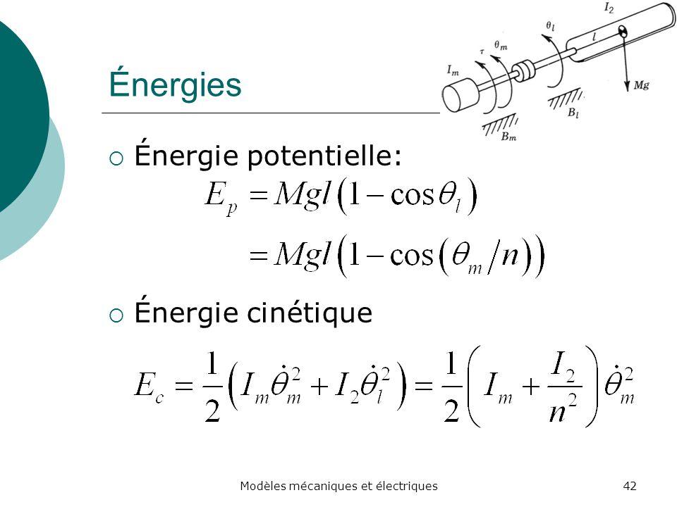 Énergies Énergie potentielle: Énergie cinétique 42Modèles mécaniques et électriques