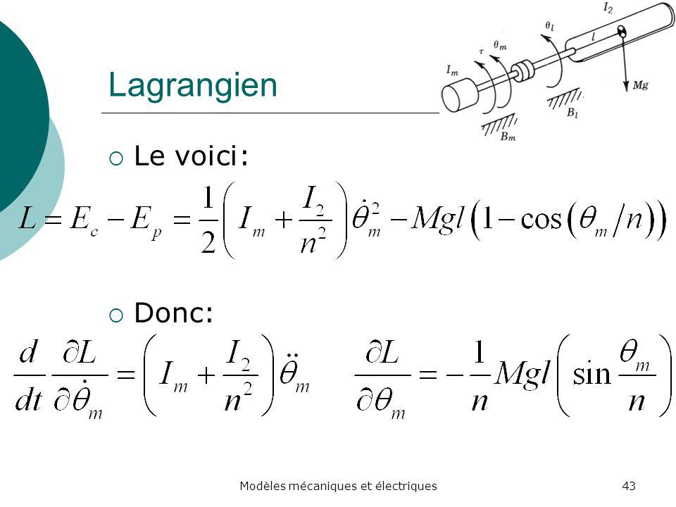 Lagrangien Le voici: Donc: 43Modèles mécaniques et électriques