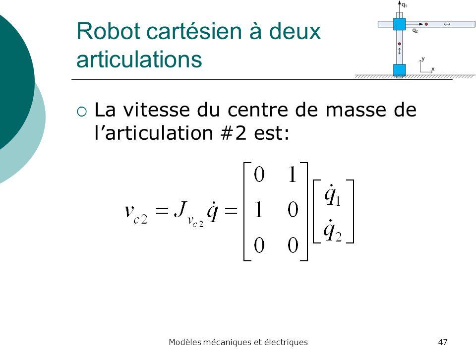 Robot cartésien à deux articulations La vitesse du centre de masse de larticulation #2 est: 47Modèles mécaniques et électriques