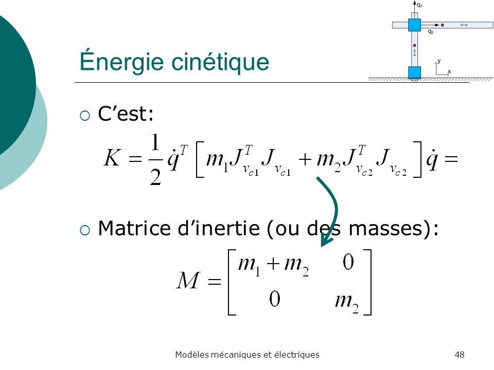 Énergie cinétique Cest: Matrice dinertie (ou des masses): 48Modèles mécaniques et électriques