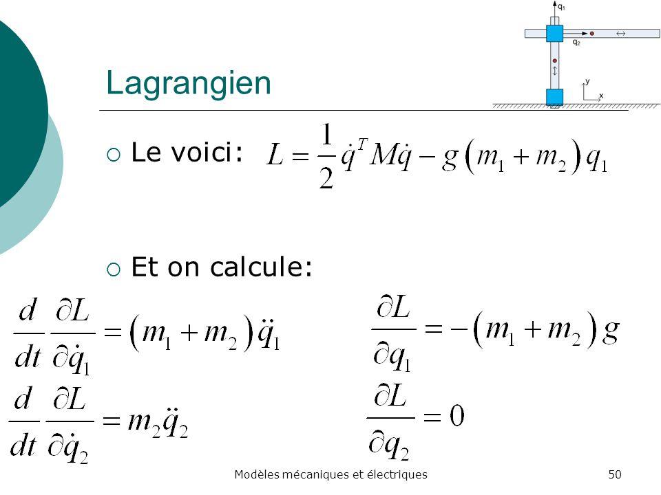 Lagrangien Le voici: Et on calcule: 50Modèles mécaniques et électriques