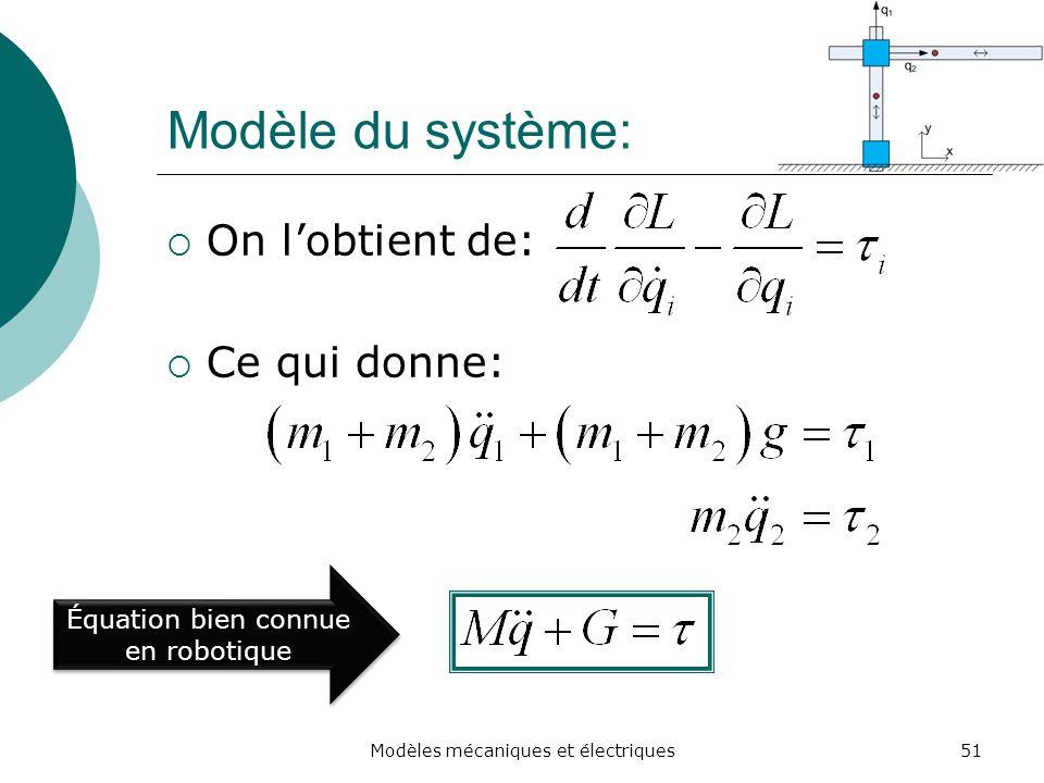 Modèle du système: On lobtient de: Ce qui donne: 51Modèles mécaniques et électriques Équation bien connue en robotique