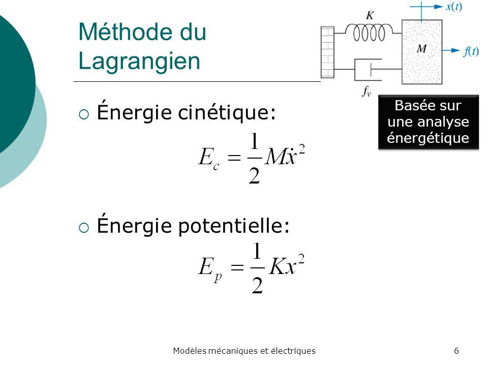 Méthode du Lagrangien Énergie cinétique: Énergie potentielle: Basée sur une analyse énergétique 6Modèles mécaniques et électriques
