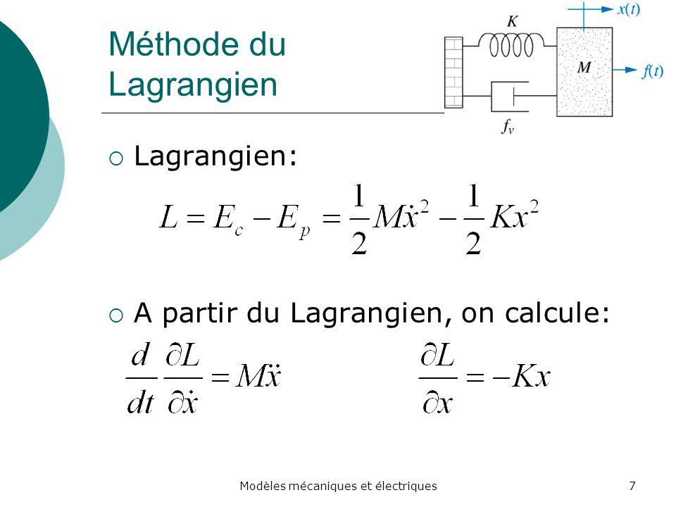 Méthode du Lagrangien Lagrangien: A partir du Lagrangien, on calcule: 7Modèles mécaniques et électriques