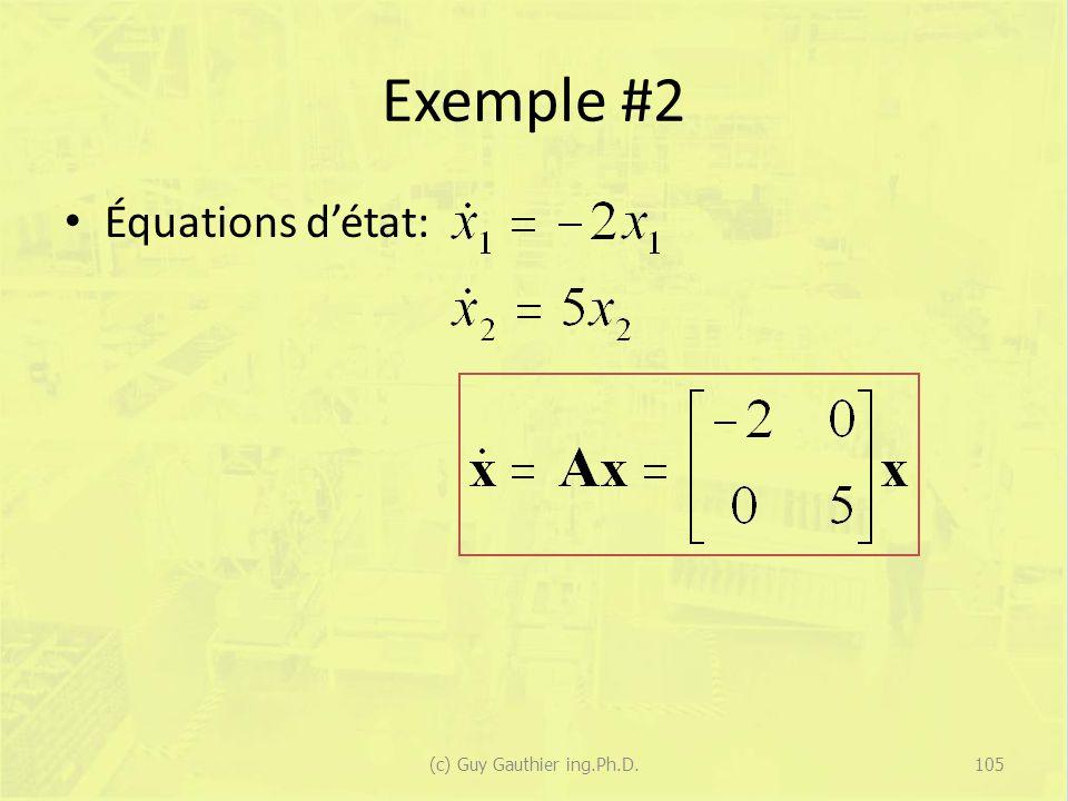 Exemple #2 Équations détat: 105(c) Guy Gauthier ing.Ph.D.