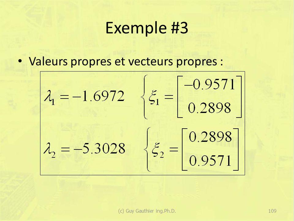 Exemple #3 Valeurs propres et vecteurs propres : 109(c) Guy Gauthier ing.Ph.D.