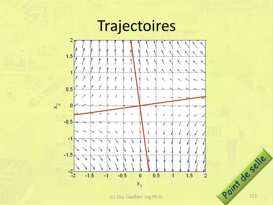 Trajectoires Point de selle 113 (c) Guy Gauthier ing.Ph.D.